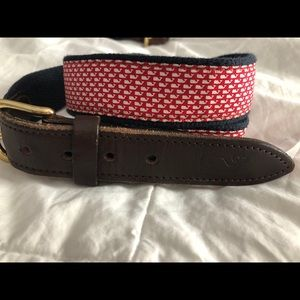 Vineyard Vines Leather Canvas Belt - Red / Whales